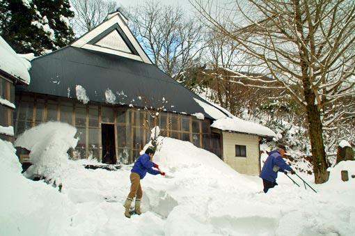 Snow shovelling at a local home