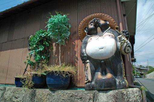 Tanuki figure on a street corner