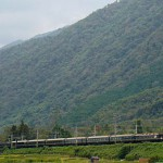 Train running at the foot of Mt. Hira