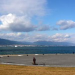 Nagisa Park facing Lake Biwa, Mt. Hiei and Mt. Hira
