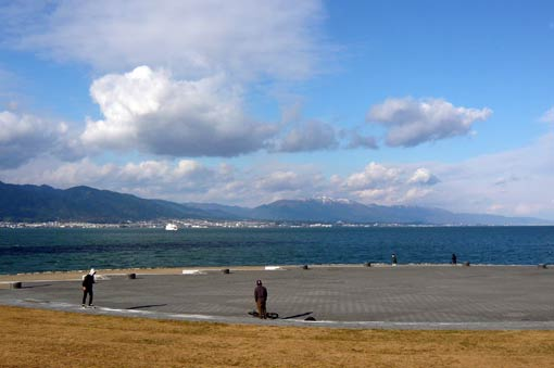 The park facing Lake Biwa, Mt. Hiei and Mt. Hira
