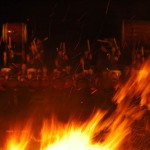 Taiko drum performance in front of holy fire